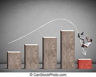 homme affaires, chutes, sur, a, négatif, statistique