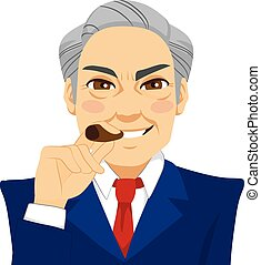 homme affaires, cigare, arrogant, fumer