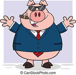 homme affaires, cigare, heureux, cochon