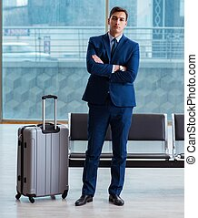 homme affaires, cla, aéroport, attente, business, avion, ...