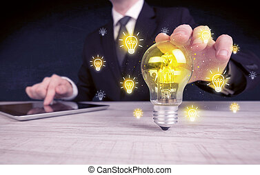 homme affaires, clair, concept, idée, a