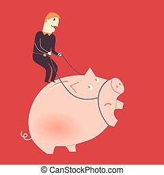 homme affaires, cochon