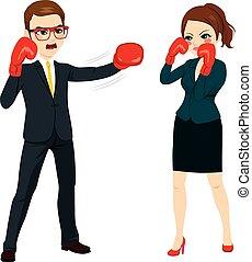 homme affaires, combat, contre, femme affaires