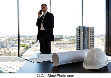homme affaires, compagnie, construction, bureau