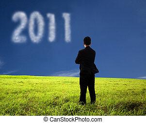 homme affaires, composition, pensée, 2011, nuage, regarder