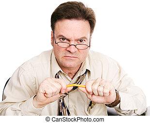 homme affaires, comptable, frustré, ou