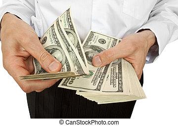 homme affaires, compte, argent, mains