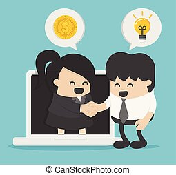 homme affaires, concept, affaires gens, communication