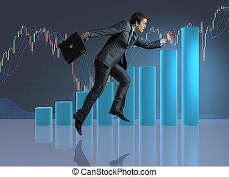homme affaires, concept, business, sauter