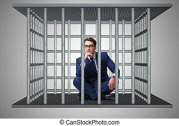 homme affaires, concept, cage, business