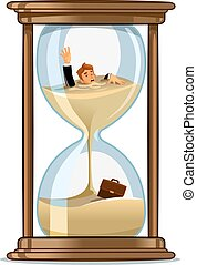 homme affaires, concept, conception, hourglass., date limite