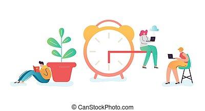 homme affaires, concept., date limite, business