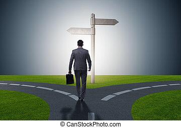 homme affaires, concept, difficile, choix