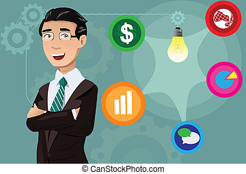 homme affaires, concept, idée, avoir