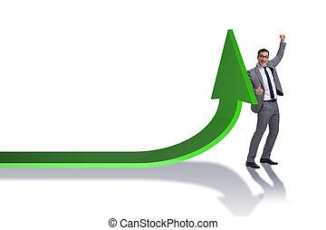 homme affaires, concept, jeune, business, diagrammes