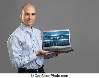 homme affaires, concept, laptop., droit d'auteur