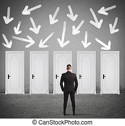 homme affaires,  concept, porte, choisir, droit