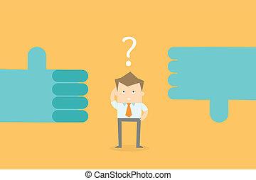 homme affaires, confondre, faire, décision, carrière, options