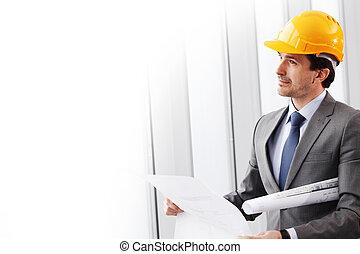 homme affaires, construction, casque