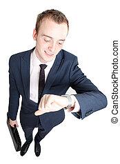 homme affaires, consultant, montre