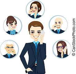 homme affaires, contact, réseau