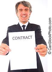 homme affaires, contrat