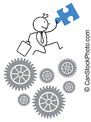 homme affaires, coopération, progrès