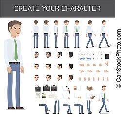 homme affaires, créer, caractère, ton, collection.