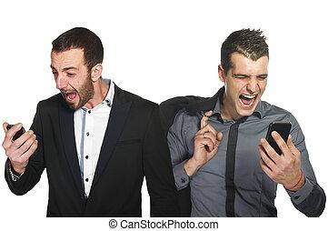 homme affaires, crier, sur, cellule, téléphone portable,