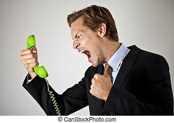 homme affaires, crier, téléphone