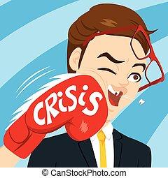 homme affaires, crise, poinçon