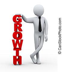 homme affaires, croissance, 3d