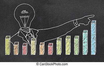 homme affaires, croissance, créatif