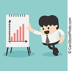 homme affaires, croissance, présentation, diagramme