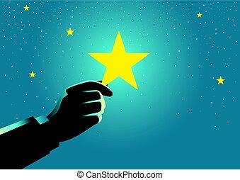 homme affaires, cueillette, étoile, haut, main