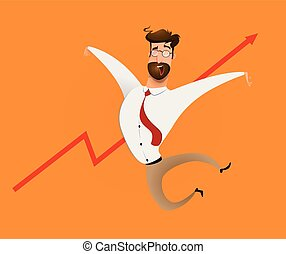 homme affaires, currency., grandir, heureux