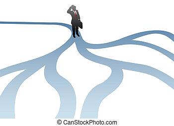homme affaires, décision, choisir, chemins, confusion
