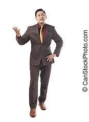 homme affaires, décue, jeune, geste, asiatique