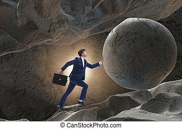 homme affaires, défi, concept, difficile