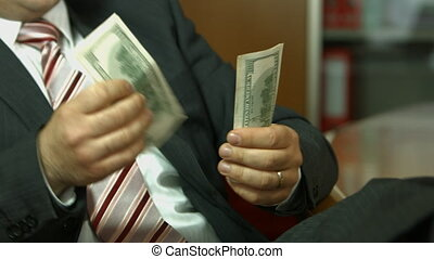 homme affaires, dénombrement, argent., dollar