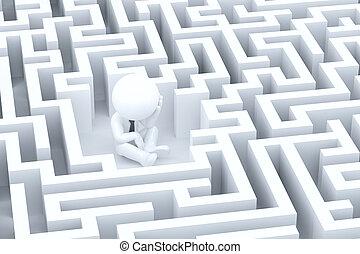 homme affaires, désespéré, labyrinthe