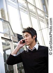 homme affaires, désinvolte, asiatique