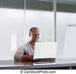 homme affaires, dans, bureau