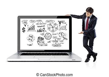 homme affaires, dans, complet, et, plan affaires, sur, ordinateur portable, écran