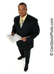 homme affaires, dans, costume noir