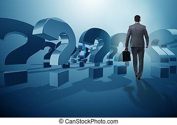 homme affaires, dans, incertitude, concept, à, points interrogation