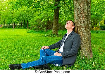 homme affaires, dans parc, chercher, a, arbre