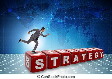 homme affaires, dans, stratégie, concept affaires