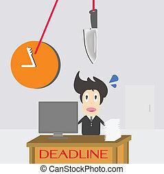 homme affaires, date limite, temps