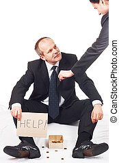homme affaires, demander, pour, aide